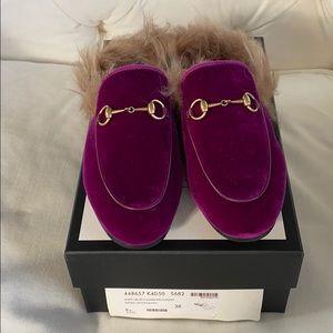 Gucci Princetown fushia velvet with fur sz 38 BNWB